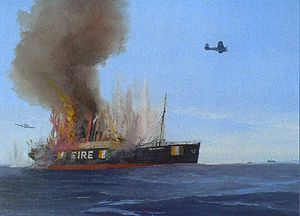 """Irish Mercantile Marine during World War II - City of Limerick returning from the """"Lisbon Run"""" with a cargo of fruit, en route to Liverpool for inspection. Sunk by bombs 15 July 1940, killing two of her crew. Oil by Kenneth King, National Maritime Museum of Ireland"""