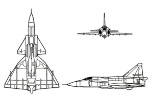 Orthographically projected diagram of the Saab AJ 37 Viggen.