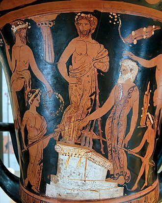 Nestor (mythology) - Nestor and his sons sacrifice to Poseidon on the beach at Pylos (Attic red-figure calyx-krater, 400–380 BC).
