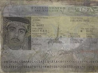Saeed al-Ghamdi -  Visa page from Saeed al-Ghamdi's Kingdom of Saudi Arabia passport recovered from the United Airlines Flight 93 crash site