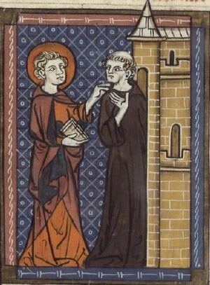 Saint Fursey - Saint Fursey and the monk; from a 14th-century manuscript