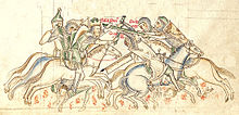 A drawing depicting mounted warriors fughting each other