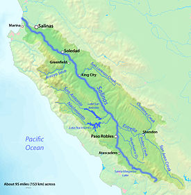 Salinas River California Wikipedia - Rivers in southern ca us map