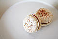 Salted caramel macaron on plate, February 2011.jpg