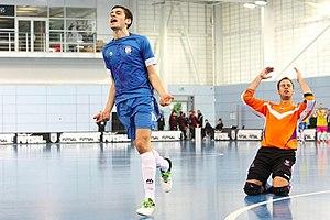 Manchester Futsal Club - Samuel Richardson (in blue) playing for Manchester Futsal Club in the Grand Finals