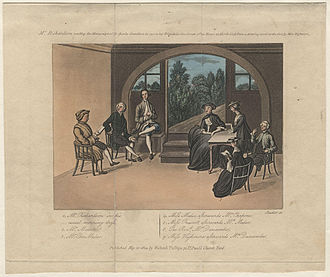 Samuel Richardson -  Samuel Richardson reading aloud the manuscript of Sir Charles Grandison to a group of friends in 1751. Coloured Engraving by Miss Highmore. National Portrait Gallery, Westminster, England.