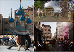 Clockwise from top: the Russian Orthodox Cathedral of the Holy Trinity, Lezama Park, a Tango show in Dorrego Square and antique fairs in Defensa Street.