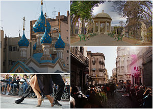 San Telmo, Buenos Aires - Clockwise from top: the Russian Orthodox Cathedral of the Holy Trinity, Lezama Park, a Tango show in Dorrego Square and antique fairs in Defensa Street.
