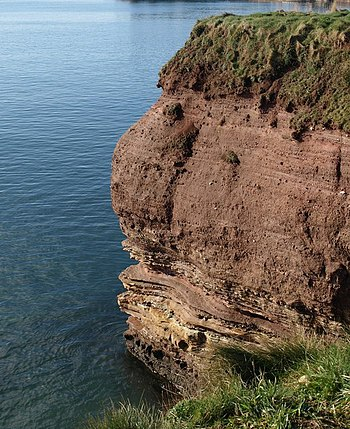 "English: Sandstone cliff, Corbyn Head ""Th..."