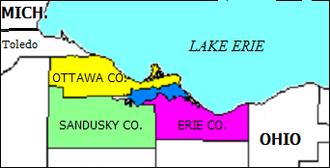 Sandusky Bay - Location of Sandusky Bay (darker blue extending southwest from Lake Erie).