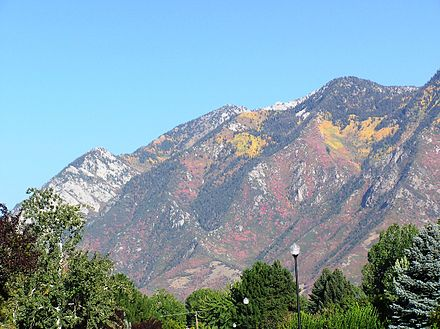 A view of the Wasatch Mountains from a Sandy neighborhood. SandyUtahView.JPG