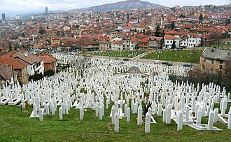 Bosnian genocide - The Martyrs' Memorial Cemetery Kovači for victims of the war in Stari Grad.