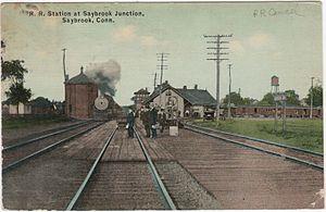Old Saybrook station - 1915 postcard of Saybrook Junction station