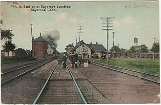 Old Saybrook station - 1915 postcard of Saybrook Junction station