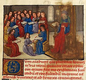 Peniarth 481 - Image: School, with Cato and his translator