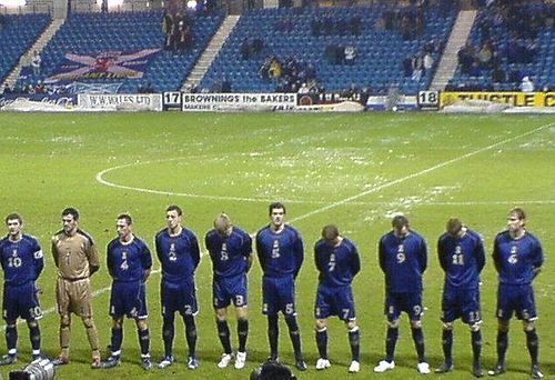 Scotland B team line up ahead of a match against Finland B at Rugby Park, Kilmarnock. Scotland B national football team.jpg