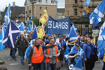 Pro-independence march in Glasgow, Scotland in May 2018 Scottish independence rally 2018 Largs.jpg