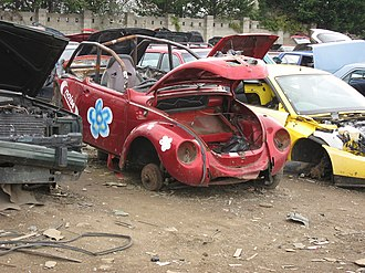 Scrapheap Challenge - An example of the type of vehicles created for Scrapheap Challenge, the Green Goddesses VW Beetle.