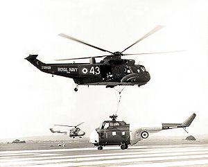 Westland Sea King - Westland Sea King HAS.1 air-lifting a Westland Whirlwind HAS.7 near RNAS Culdrose, 1971