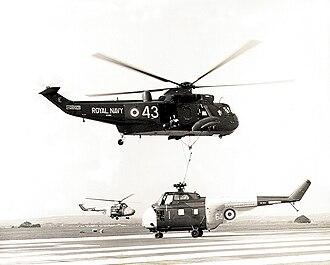 Westland Sea King - Westland Sea King HAS.1 air-lifting a Westland Whirlwind HAS.7 near RNAS Culdrose, 1971