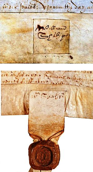 Shakespeare's handwriting - The Blackfriars signatures are fitted into the narrow space of the seal holder
