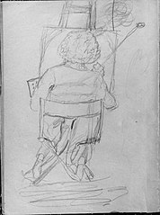 Seated Artist, Viewed from the Rear, Painting at an Easel (from Whistler Album)