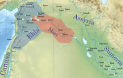 A map detailing the location of Assyria within the Ancient Near East c. 2500 BCE.        =