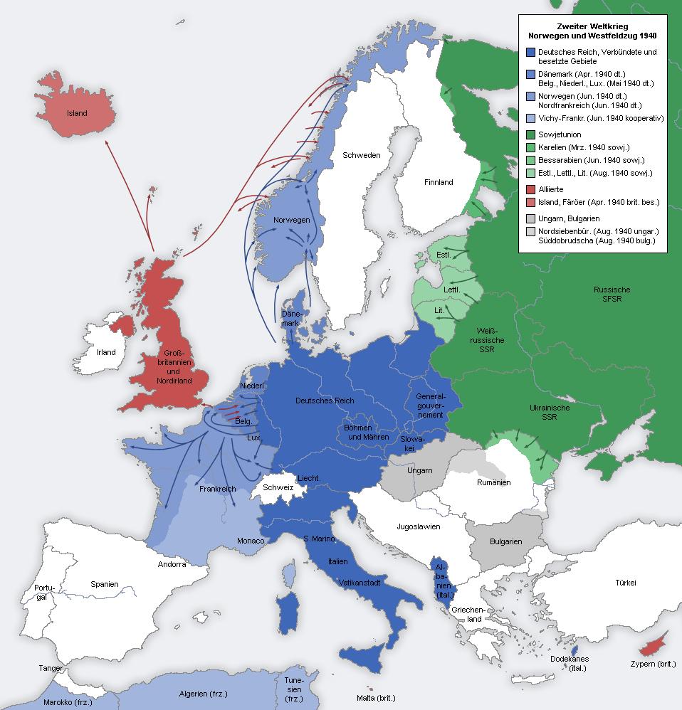 Second world war europe 1940 map de