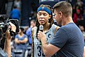 Seimone Augustus is interviewed after the Minnesota Lynx vs Dallas Wings game at Target Center, Minnesota won the game 91-83.jpg
