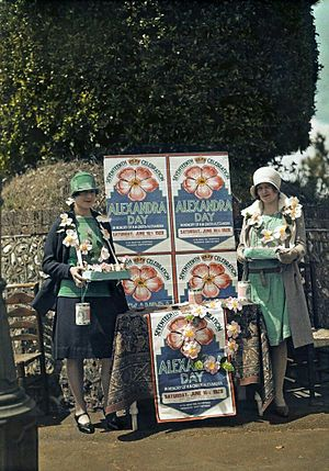 Alexandra Rose Day - Selling Queen Alexandra roses for charity in Seaford, East Sussex, England in 1928.