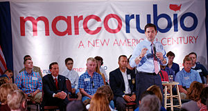 Marco Rubio presidential campaign, 2016 - Rubio speaking to voters in Salem, New Hampshire.