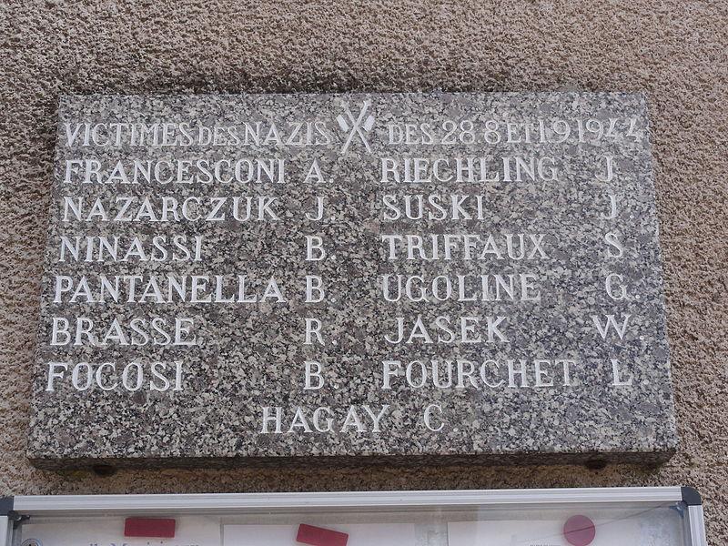 Senon (Meuse) mairie, plaque B, victimes 1944