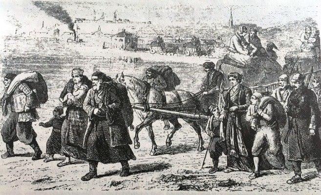 Sephardi Jews fleeing from Belgrade to Zemun in 1862