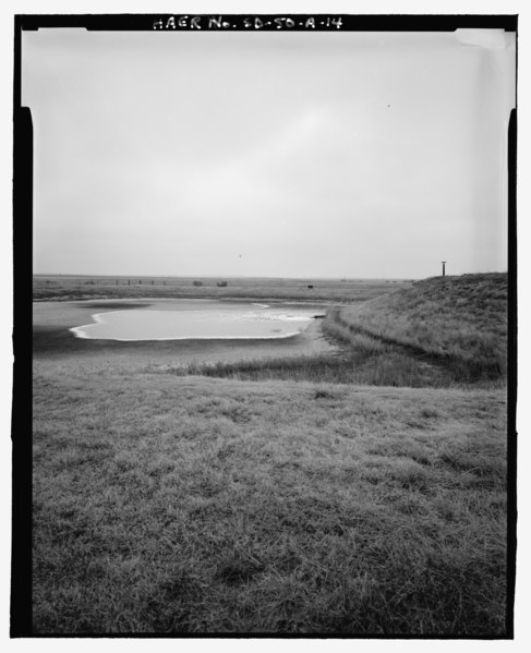 File:Sewage overflow lagoon filling up, looking west - Ellsworth Air Force Base, Delta Flight, Launch Control Facility, County Road CS23A, North of Exit 127, Interior, Jackson County, SD HAER SD-50-A-14.tif