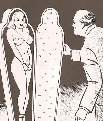 Fear play - Cartoon showing a frightened woman bound inside an iron maiden, waiting for the door to be shut. Illustration by Joe Shuster from Nights of Horror magazine.