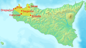 Elymians - Map of approximate area of Elymian settlement, showing major cities.