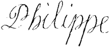 Signature of Philippe of France, Duke of Anjou (future King of Spain) in 1695.png