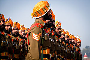 Mazhabi Sikh - The Sikh Light Infantry march past during the Republic day parade in New Delhi, India