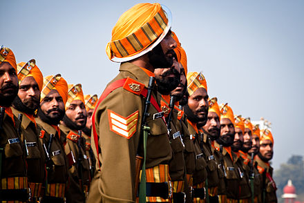 Sikh Light Infantry personnel march past during the Republic day parade in New Delhi, India Sikh Light Infantry.jpg