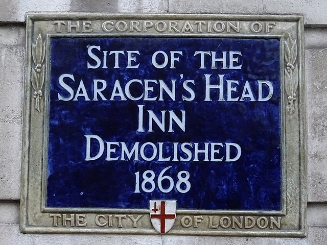 Blue plaque № 6156 - Site of the Saracen's Head Inn demolished 1868