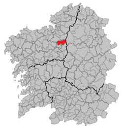 Location of the municipality of Curtis within Galicia.