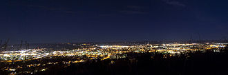 Skövde - Skövde evening skyline, seen from the top of the mountain on Billingen