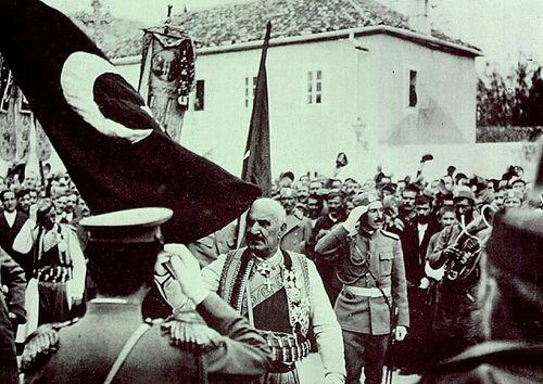 Nicholas accepts the surrender of Scutari, April 1913; Montenegro's major gain from the Balkan War, it was relinquished several months later. Skadar predaja zastave.jpg