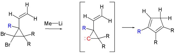 2-Vinylcyclopropane führen in der Skattebøl-Umlagerung zu Cyclopentadienen.
