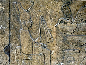 Sneferu - Detail of a relief showing Sneferu wearing the white robe of the Sed-festival, from his funerary temple of Dahshur and now on display at the Egyptian Museum.