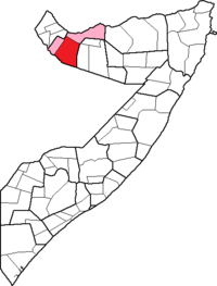 Location of Hargeisa District within the Woqooyi Galbeed region