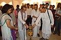 Somendranath Bandyopadhyay Lighting Inaugural Lamp - Biswatosh Sengupta Solo Exhibition - Kolkata 2015-07-28 3318.JPG