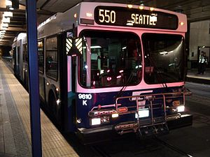 Sound Transit - Sound Transit Express bus on route 550 between Bellevue and Seattle stopped at a station in the Downtown Seattle Transit Tunnel.
