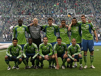 History of Seattle Sounders FC - The starting lineup for Seattle Sounders FC before their inaugural game on March 19, 2009