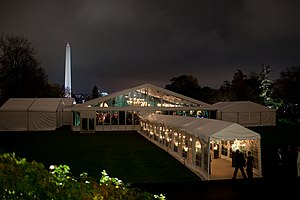 State dinner - A tent located on the South Lawn was the venue for a state dinner held on the evening of November 24, 2009. President Barack Obama and First Lady Michelle Obama dined with Prime Minister Manmohan Singh of India and his wife, Gursharan Kaur.